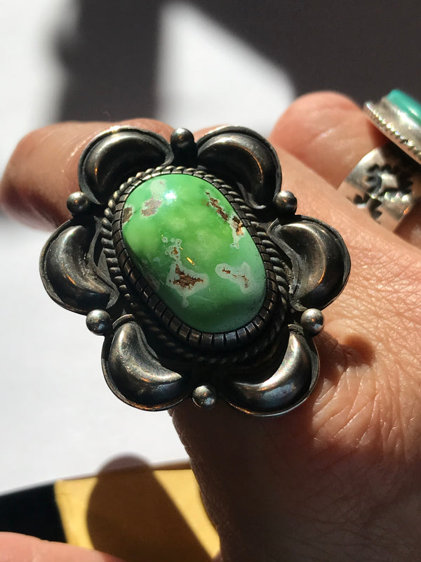 Rare emerald green turquoise ring Navajo