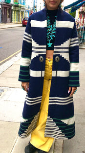 New navy & cream Jessie Western blanket coat