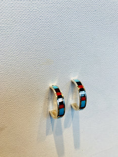 Zuni Inlay Huggie Hoops