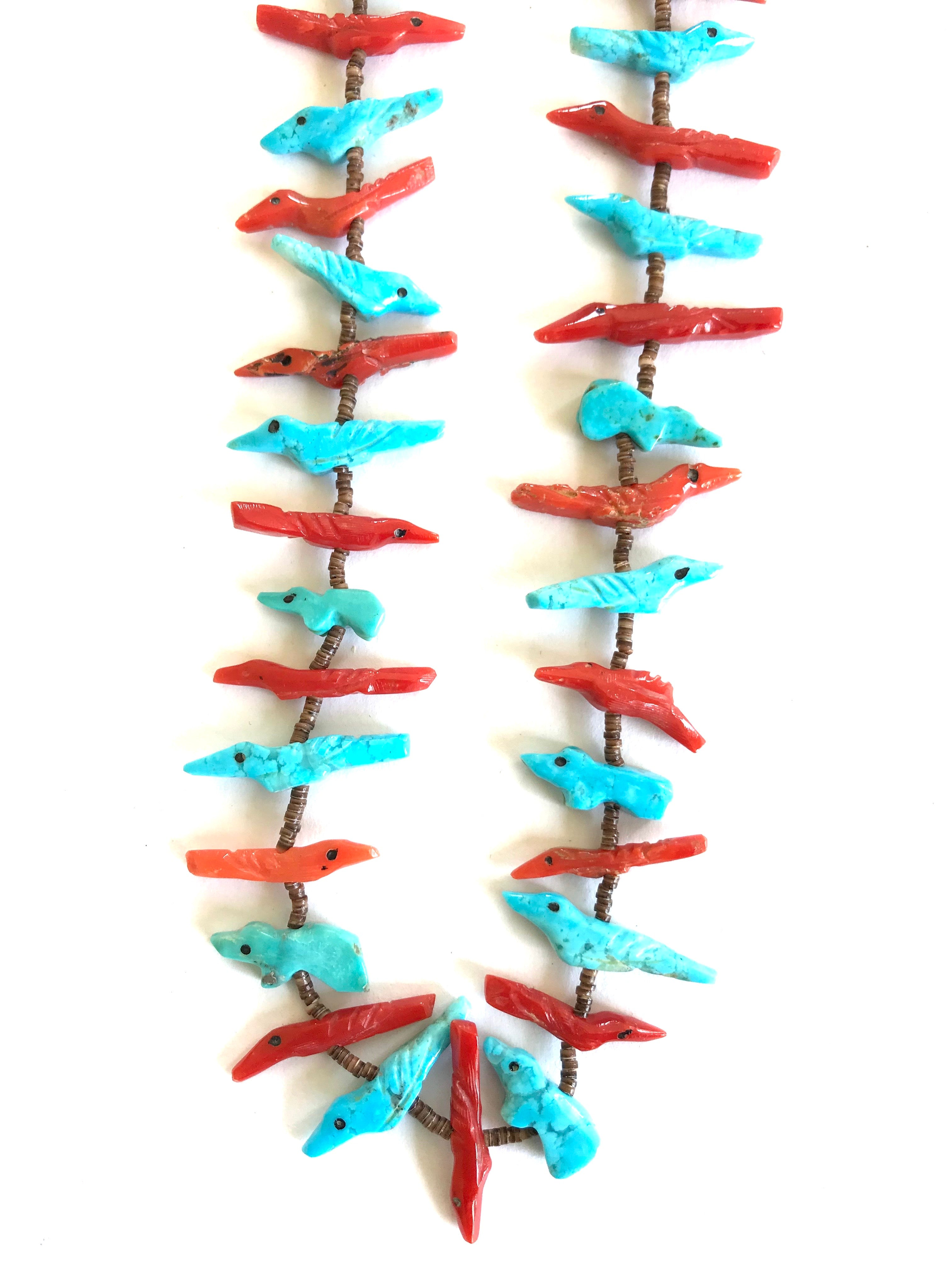 coral and turquoise long power animal necklace