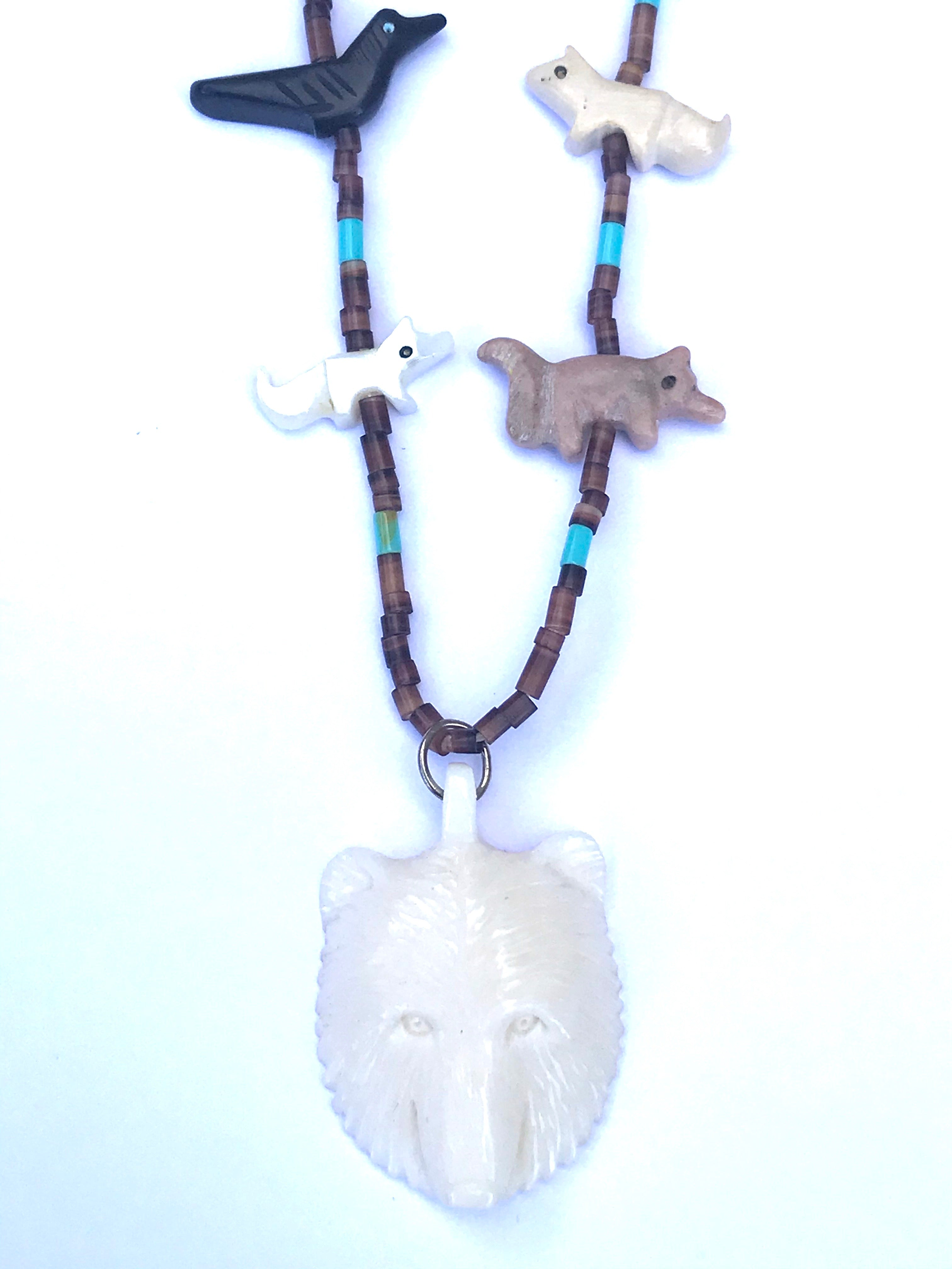 white Bear  power animal necklace