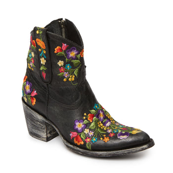Rainbow Flower Black Short Cowboy Boots