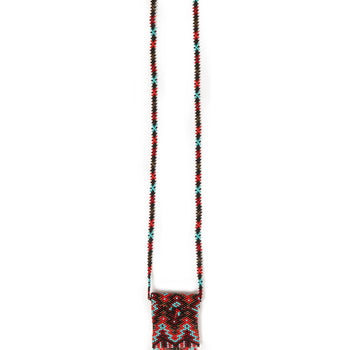 Jessie Western Red Hand Beaded Medicine Pouch Necklace