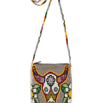 Jessie Western Silver Rainbow Bull Beaded Crossbody Bag