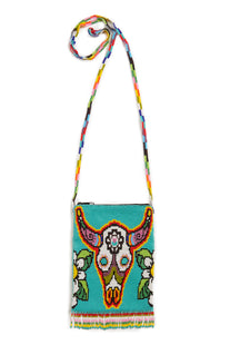 Jessie Western Turquoise Rainbow Bull Beaded Crossbody Bag