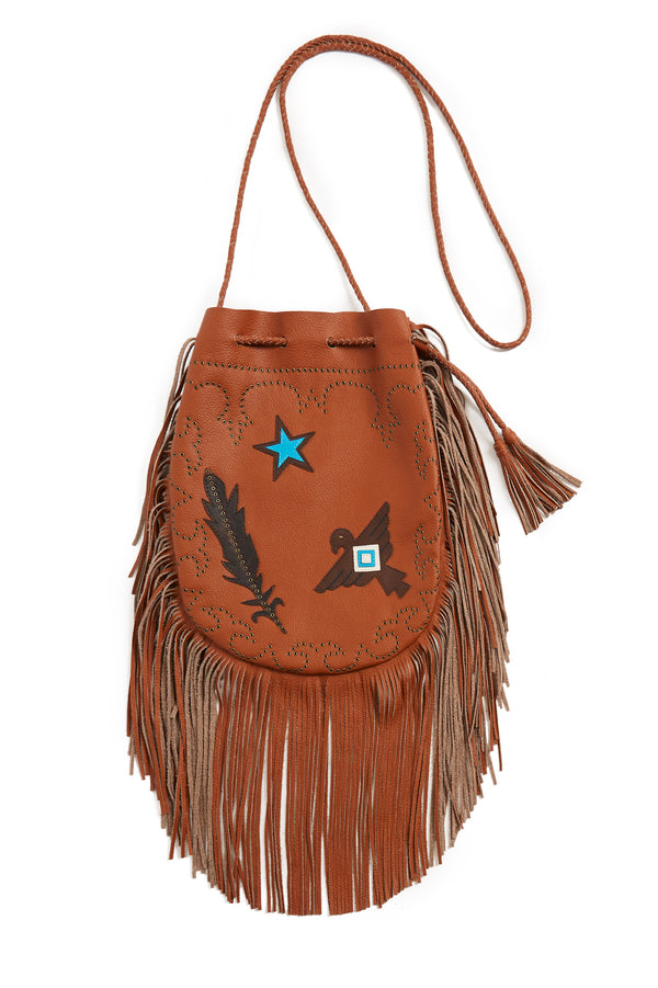 Jessie Western Tan Mini Buffalo Leather Fringed Bag