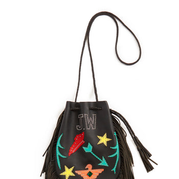 Jessie Western Patchwork Buffalo Leather Fringed Bag