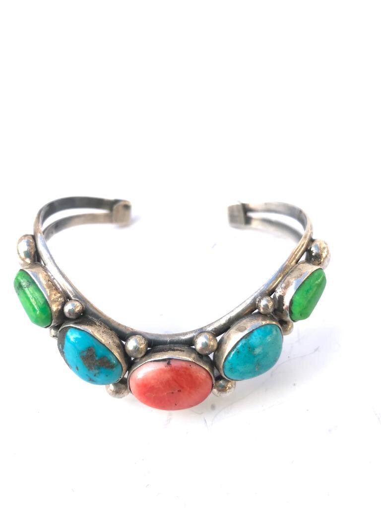 Multi Stone Navajo V shaped Bracelet