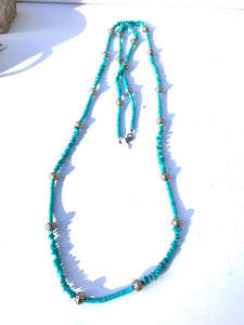 Natural Nugget Long Turquoise Strand with Silver Conchos