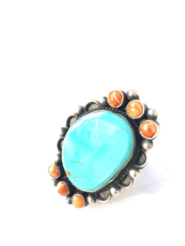 Turquoise and Spiny Oyster Contrast Ring