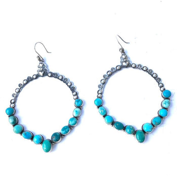 Hand Punched Turquoise Hoop Earrings