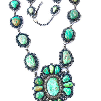 Emerald Green Turquoise Collectors Cluster Necklace/Belt
