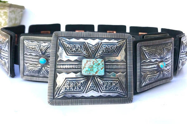 Sterling Silver Concho Belt heavy punch work