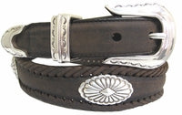 Real leather Black concho belt