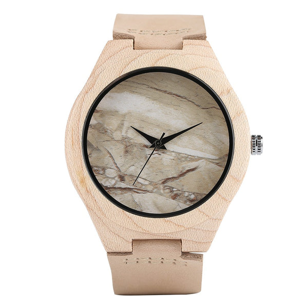 Simple Wood Watch, Genuine Leather Band Strap Women Bamboo Clock, Bamboo Wristwatch Bracelet