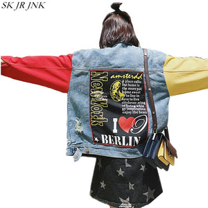 Spring Autumn Women Denim Jacket Jeans Jacket Harajuku Women Basic Coat Loose Casual Denim Coat Wq172