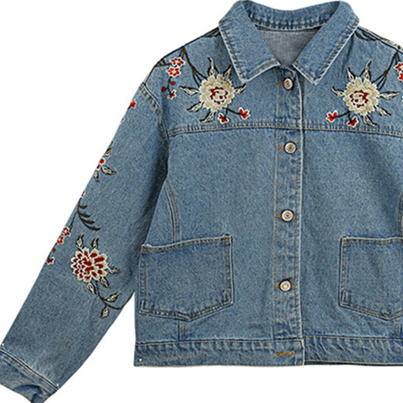 Spring Women Slim Fit Denim Jacket Vintage Embroidered Jean Jacket Loose Casual Women Basic Coats Lyl67