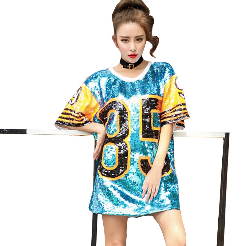 Summer Women Round Collar Street Letters Printed Sequins TShirt Loose Casual Spell Color Tops Wq141