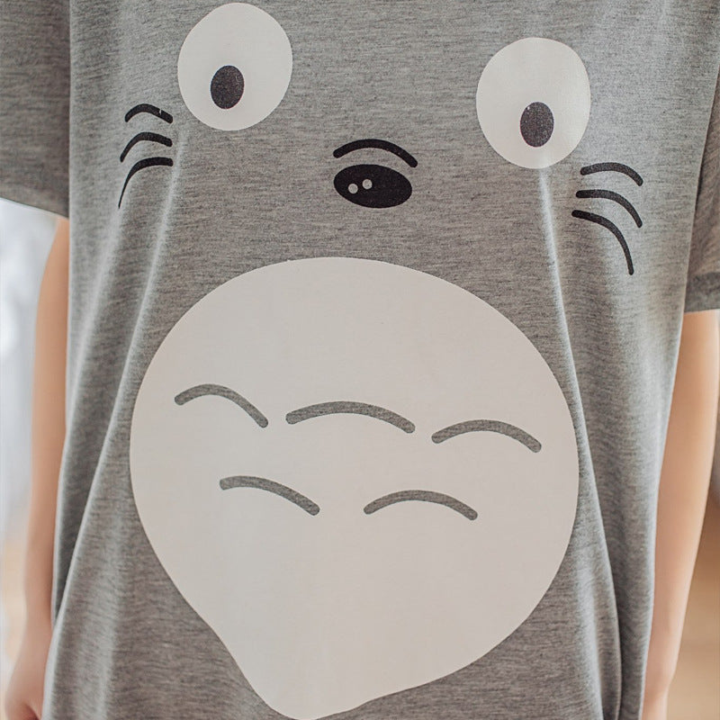 Spring Summer Women Cute Cartoon Totoro Dresses Casual Dress Lady Vestido