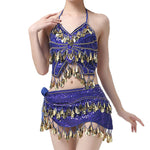 Ballroom Dance Wear Nightclub Women Belly Dance Costume Set 2 Pieces Top Hip Scarf Sequins Fringe
