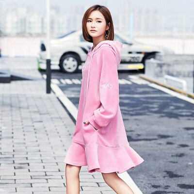 Letter Embroidery Velvet Sweatshirts Dress Spring Autumn Women Long Sleeve Dress Casual Loose Fish Tail Office Dress Lyl253