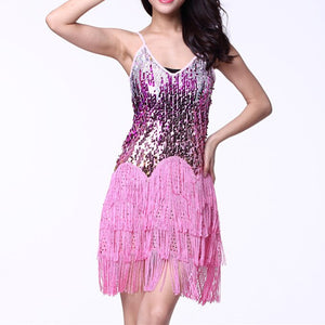 Ballroom Dress Samba Costume Party Dresses With Fringes Women Deep VNeck OnePiece Straps Dress