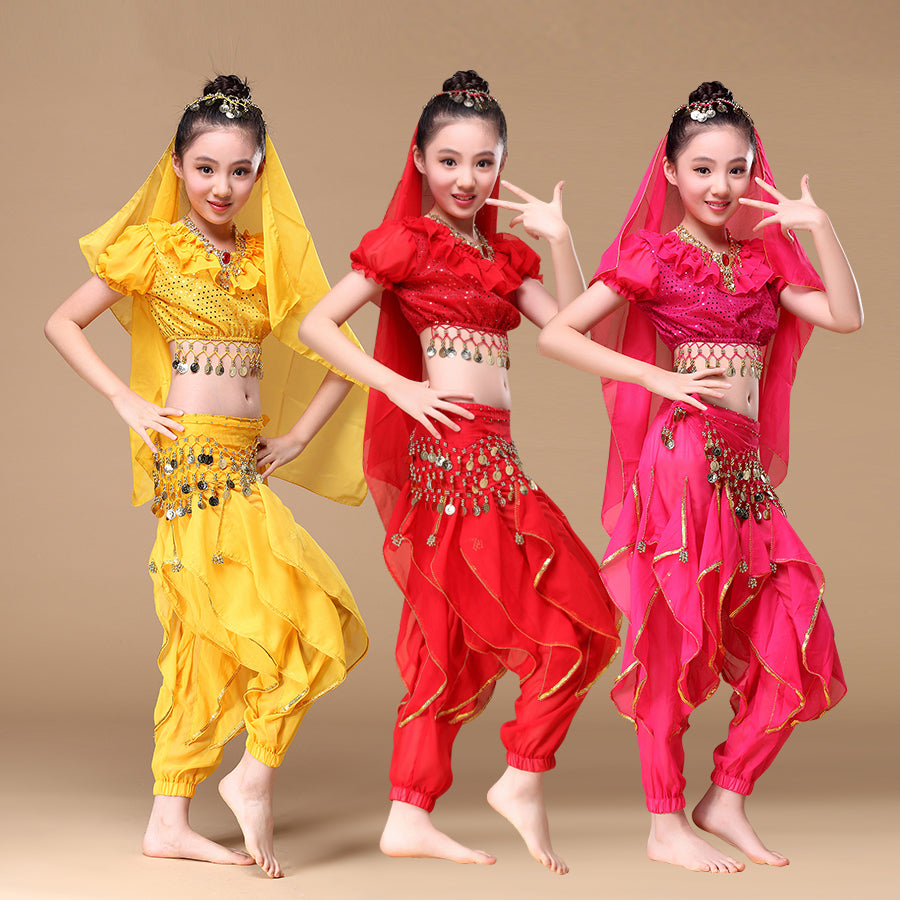 Sari Children Indian Dance 4Piece Costume Set Top Belt Pants Head Pieces Bollywood Dance Costumes
