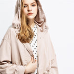 Spring Windbreaker Women Thin Basic Coats Long Casual Loose Solid Hooded Office Lady Trench Coat Rs67