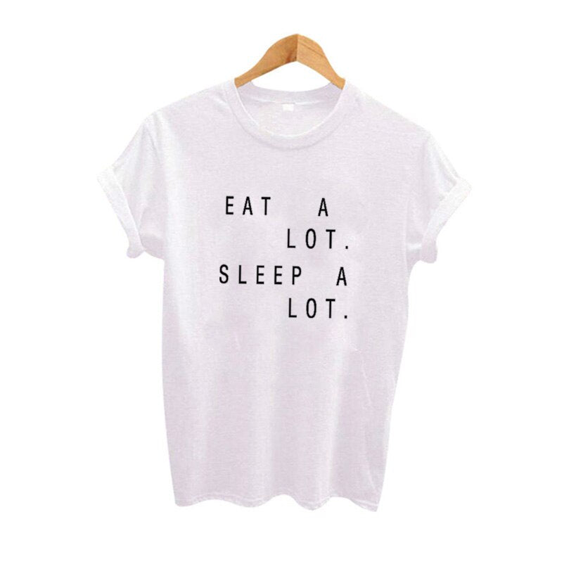Summer Eat A Lot Sleep A Lot Funny T Shirts Women ONeck Short Sleeve Cotton Tops Casual Tee Shirt Femme Camiseta Mujer