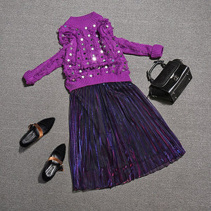 Summer Outfits Casual Sequins Sweaters Pullovers Suits Pleated Midi Skirts 2 Piece Sets Sr412