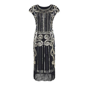 Women Dance Clothes Sequins Costume ONeck Side Zipper Fringe Dinner Party Ballroom Dresses 1920S Flapper Dress