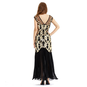 Women Dance Wear Evening Costume Sleeveless Long Maxi Dresses Sequins Beading Skirt