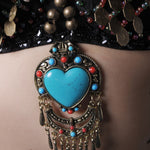 Women Dancewear Belly Dance Copper Halter Top Gem Stone Heart Pendant Push Up B Cup Tribal Belly Dance Bras
