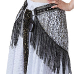 Tribal Bellydance Clothes Costume Accessories Fringe Wrap Belts Hip Scarf Metallic Studs Belly Dance Belt With Rings