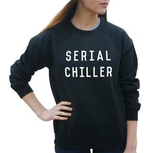 Autumn Women Hoody Serial Chiller Print Harajuku Sweatshirt Black White ONeck Hoodies Casual Tracksuit