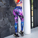 Women Yoga Pants Skull Printed Leggings Stretchy Fitness Seamless Running Sportwear Gym Compression Tights Trousers