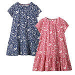 2Pcs Dress With Animal Applique Summer Baby Clothes Kids Dresses Costume Children Princess Dress Unicorn