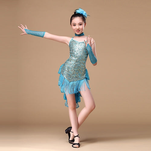515 Years Children Dance Outfit With Sleeves Sequins Latin Dresses Backless Fringe Ballroom Latin Dress