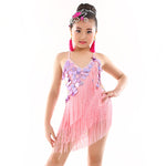 814 Years Children Dance Dress One Piece Kids Latin Dance Fringe Dress Ballroom Latin Dress