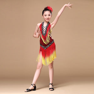 815 Years Performance Children Dance Outfit VNeck With Beads Backless Tassel Fringe Competition Latin Dance Dress