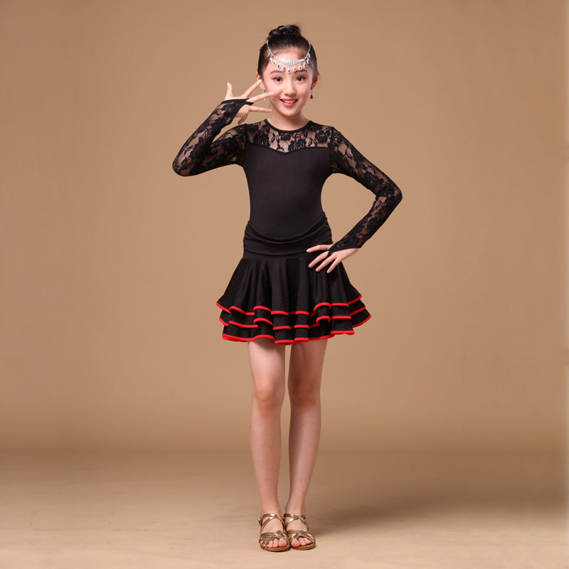 816 Years Children Dancewear With Long Sleeves Lace Latin Dresses Latin Dress