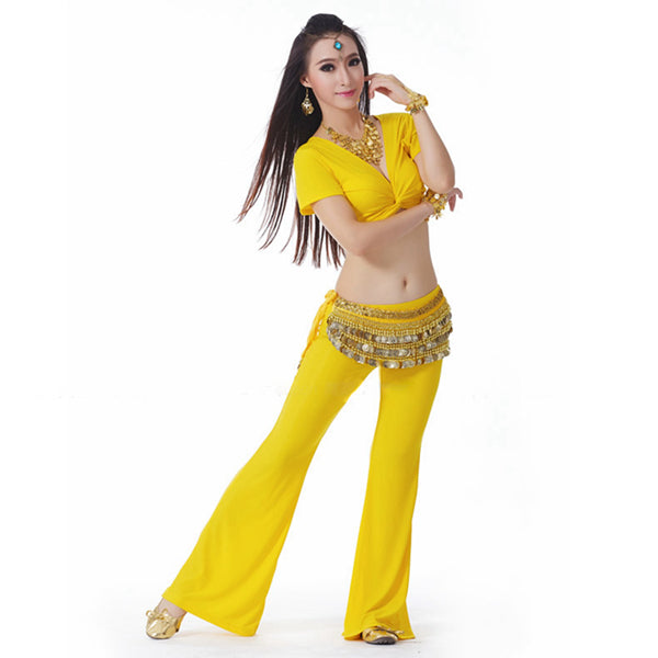 9 Colors Belly Dance Clothing Women Dancewear Suit Practice Belly Dance Top Belt Pants Costumes