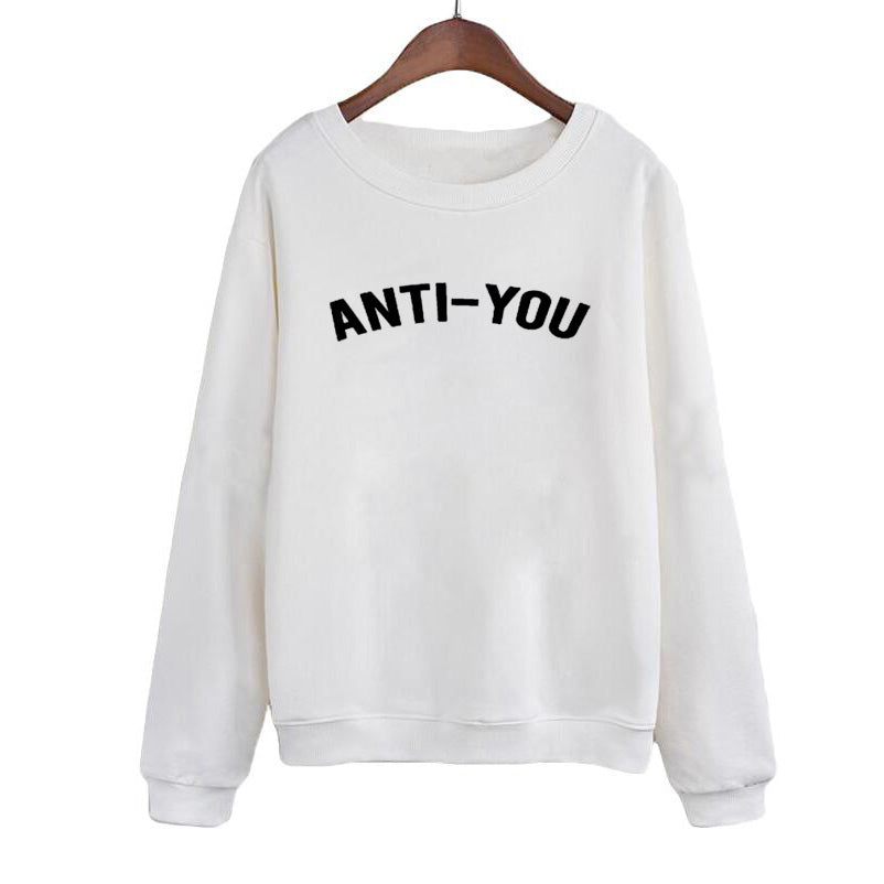 AntiYou Autumn Europe Letters Print HipHop Casual Sweatshirt Women Long Sleeve Round Neck Hoodies Felpe Donna