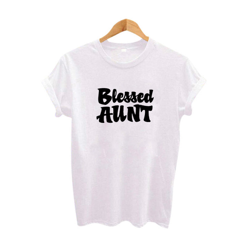 Aunt Tees Blessed Aunt TShirt Funny Aunt Auntie Tee Shirt Gift Tumblr T Shirt Women'S Hipster Harajuku Slogan Print Tshirt