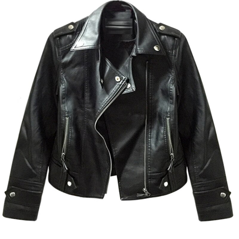 Autumn Women Pu Leather Jacket Lady Motorcycle Outerwear Printed Zipper Jacket Epaulet Rivet Harajuku Leather Coat Zjq47