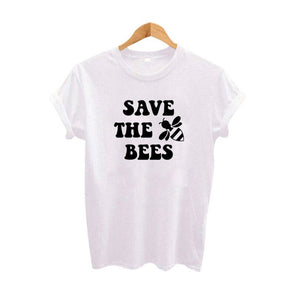 Bees Lovers Save The Bees Slogan Women T Shirt Protection Earth Environment Slogan Hipster Harajuku Print TShirt Femme Tops