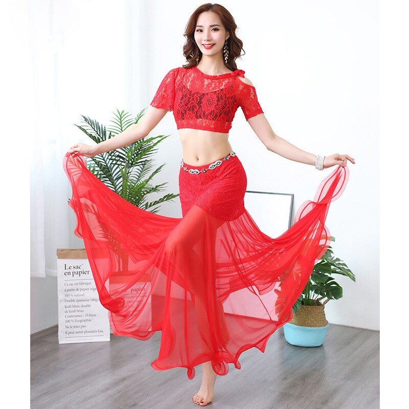 Bellydance Training Costume Lace Belly Dance Top Fish Tail Belly Dance Skirt Oriental Dance Costume Bellydance