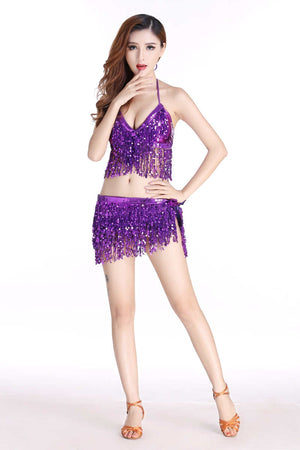 Women Belly Dance Clothing Party Outfit Nightclub Wear Sequins Costume Set Top Belt