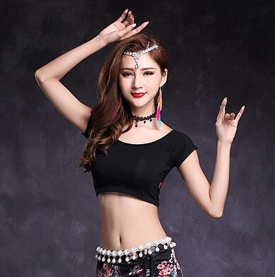 Women Belly Dance Clothes Upper Tops Modal Bodysuit Round Neck Bellydance Top Class Wear