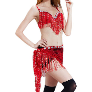 Women Dancewear Set 2 Pieces Outfit Bra Cup B Sequins Hip Scarf Belly Dance Performance